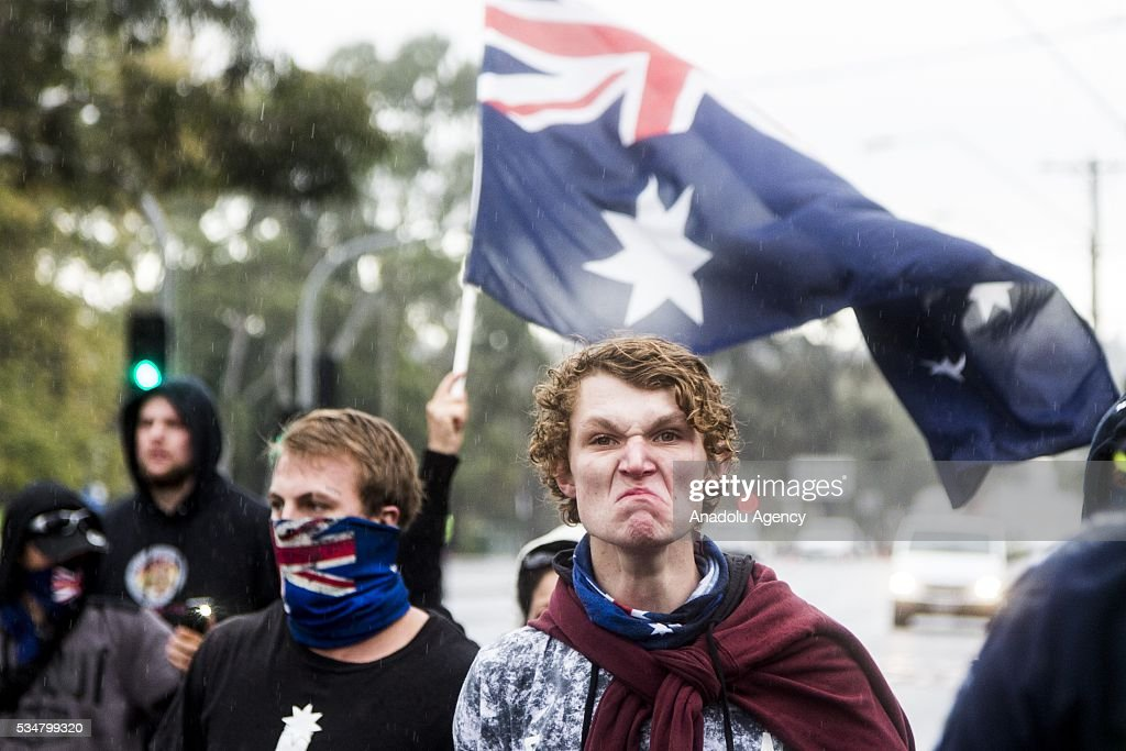 A True Blue Crew member makes an angry face towards Anti Fascists during a 'Say No To Racism' protest and a counter 'Stop the Far Left' rally in Coburg Melbourne, Australia on May 28, 2016. Seven men were arrested after a violent brawl erupted between rival protesters at an anti-racism rally in Melbourne's inner-north. Anti-Facists clashed with Anti-Islam nationalists who go by the name 'True Blue Crew'.