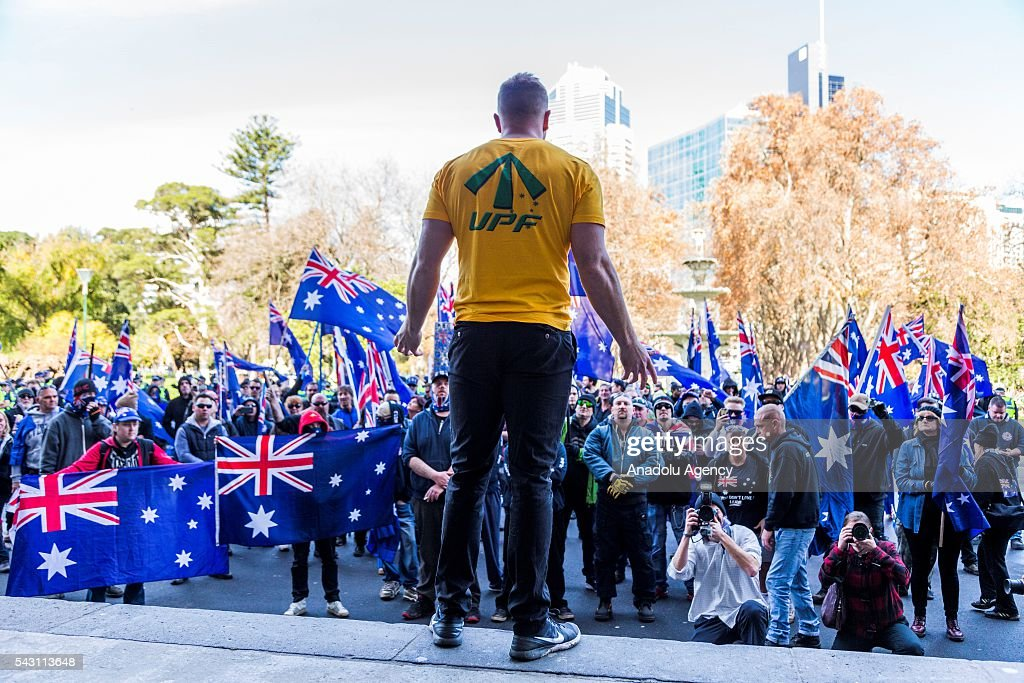 True Blue Crew members listen to UPF leader Blair Cottrell during a protest organized by the anti-Islam True Blue Crew supported by the United Patriots Front in Melbourne, Australia on June 26, 2016.