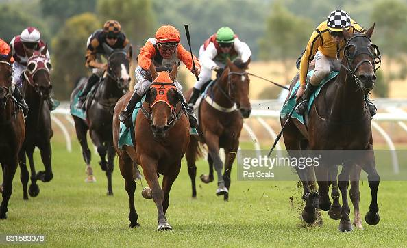 True Brave ridden by Darren Gauci wins Ord Motorcycles Ararat BM58 Handicap at Ararat Racecourse on January 13 2017 in Ararat Australia