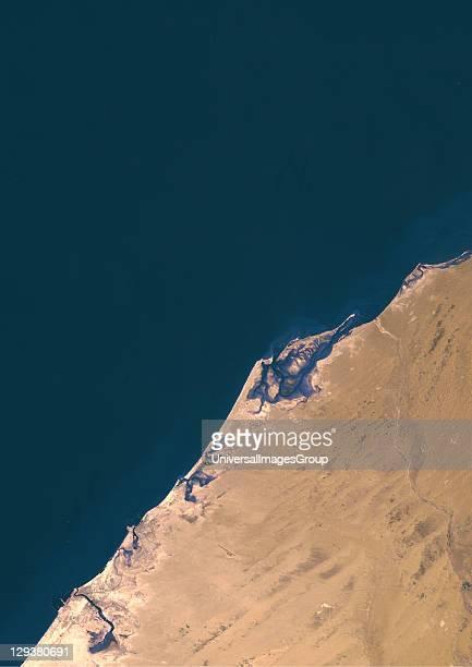 True colour satellite image of Dubai United Arab Emirates Image size A4 taken on 8 June 1976 using LANDSAT data Dubai United Arab Emirates In 1976...