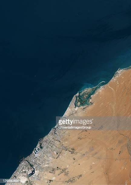 True colour satellite image of Dubai United Arab Emirates Image size A4 taken on 23 August 2000 using LANDSAT data Dubai United Arab Emirates In 2000...