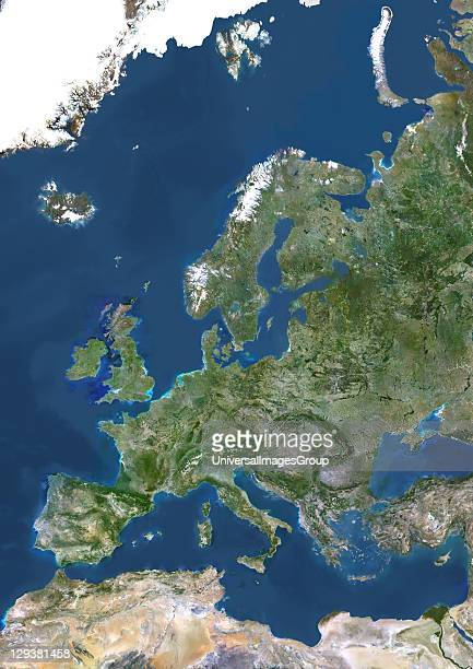 True colour satellite image of Europe This image in Lambert Conformal Conic projection was compiled from data acquired by LANDSAT 5 7 satellites...