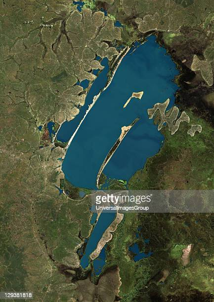 True colour satellite image of Lake Bangweulu situated in the upper Congo River basin in Zambia Africa Part of the Bangweulu Swamps are at the bottom...