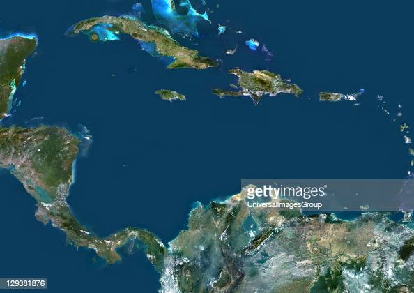 True colour satellite image of the Caribbean Sea It is bounded to the south and west by Central and South America with the North Atlantic Ocean to...
