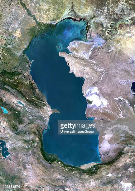 True colour satellite image of the Caspian Sea in Asia It is bounded by Iran Russia Kazakhstan Turkmenistan and Azerbaijan The Caspian Sea is the...