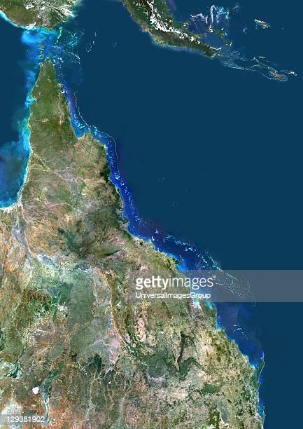 True colour satellite image of the Great Barrier Reef in Australia It is the world's largest coral reef system composed of over 900 islands...