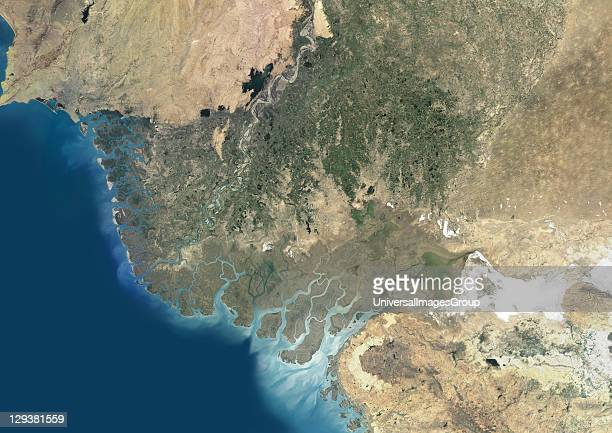 True colour satellite image of the Indus Delta in Pakistan The Indus River flows into the Arabian Sea near Pakistan's port city of Karachi The city...