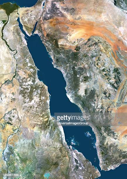 True colour satellite image of the Red Sea a seawater inlet of the Indian Ocean lying between Africa and Asia The connection to the ocean is in the...