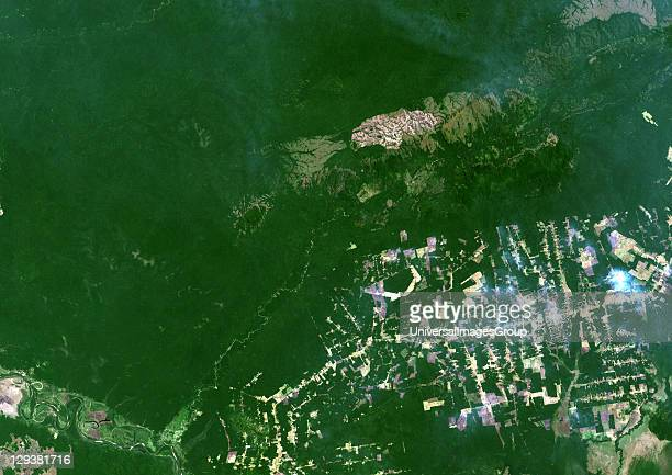 True colour satellite image showing deforestation in Amazonia in the Western part of the State of Rondonia Brazil Image size A4 taken in 2001 using...