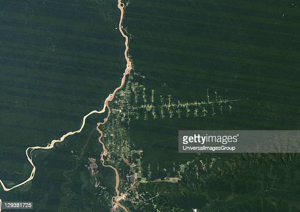 True colour satellite image showing deforestation in Amazonia in the Western part of the State of Rondonia Brazil Image taken on 07 July 1986 using...