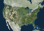 USA true colour satellite image with mask This image was compiled from data acquired by LANDSAT 5 7 satellites United States True Colour Satellite...