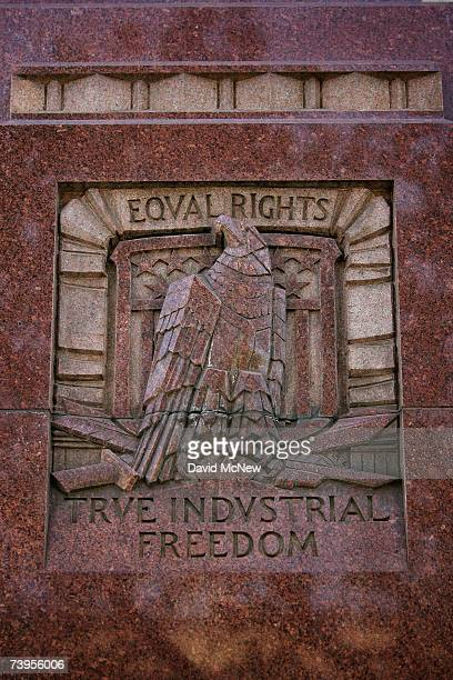 True industrial freedom and equal rights are among the slogans on the Los Angeles Times building April 23 2007 in Los Angeles California The Times...