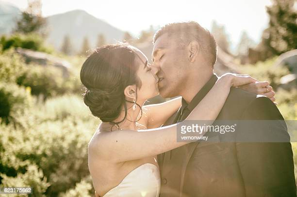 True Love kiss after wedding in the Mountains