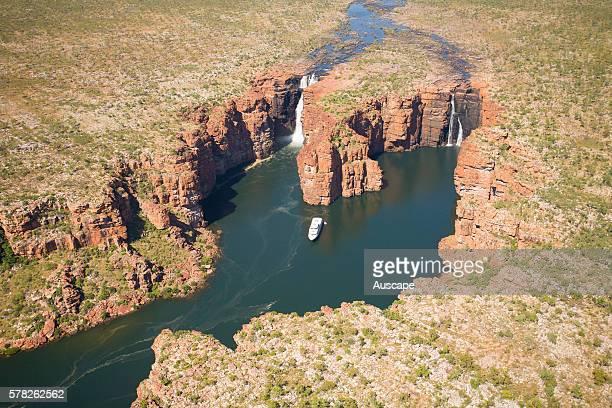 True North cruise ship on the King George River near King George Falls aerial photograph North Kimberley region Western Australia Australia