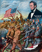 'True Sons of Freedom' WWI poster showing AfricanAmerican soldiers fighting Germans with a hovering vision of Abraham Lincoln and the words 'Colored...