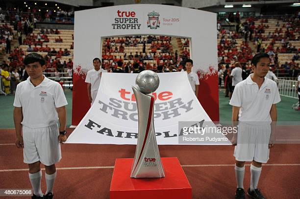 True Super Trophy Liverpool FC is displayed during the international friendly match between Thai Premier League All Stars and Liverpool FC at...