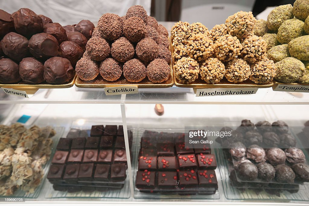 Truffles of chocolate made from organic products lie on display at the 2013 Gruene Woche agricultural trade fair on January 18, 2013 in Berlin, Germany. The Gruene Woche, which is the world's largest agricultural trade fair, runs from January 18-27, and this year's partner country is Holland.