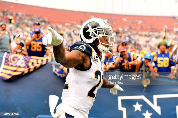 Trumaine Johnson of the Los Angeles Rams takes the field before a game against the Washington Redskins at Los Angeles Memorial Coliseum on September...