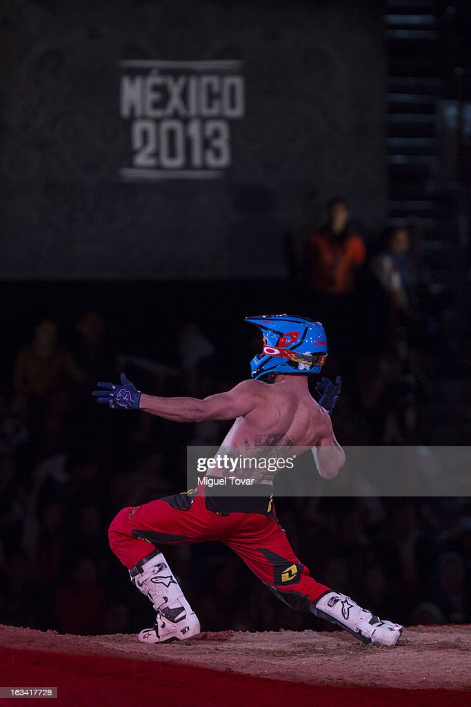 Truman Carroll of Australia competes in the Red Bull X-Fighters Moto Cross at plaza de toros Mexico on March 08, 2013 in Mexico City, Mexico.