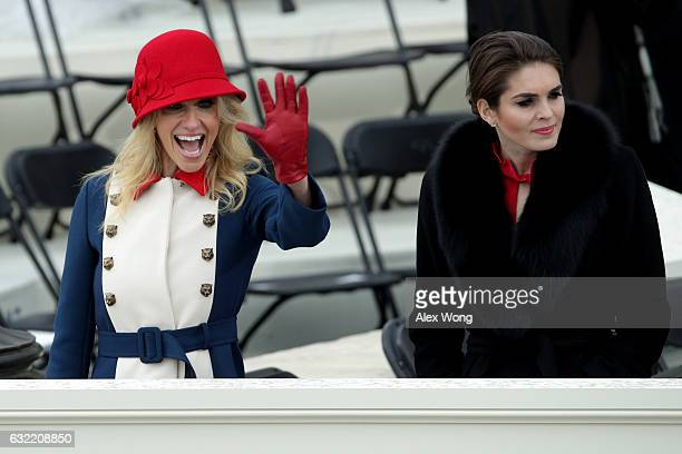 Trump advisers Kellyanne Conway and Hope Hicks on the West Front of the US Capitol on January 20 2017 in Washington DC In today's inauguration...