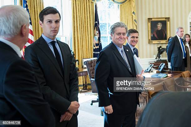 Trump advisor Steve Bannon is seen in the Oval Office before US President Donald Trump and British Prime Minister Theresa May meet at the White House...