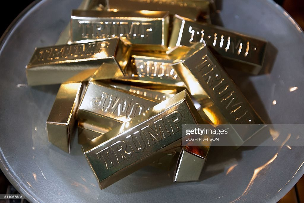 Trump brand gold chocolate bars are seen inside the Trump ...