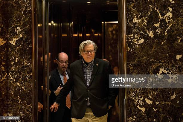 Trump campaign CEO Steve Bannon exits an elevator in the lobby of Trump Tower November 11 2016 in New York City On Friday morning Trump tweeted that...