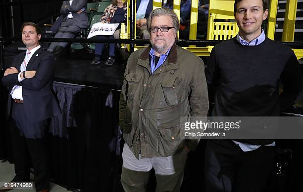 Trump campaign CEO Steve Bannon listens to Republican presidential nominee Donald Trump address a campaign rally at the Deltaplex Arena October 31...