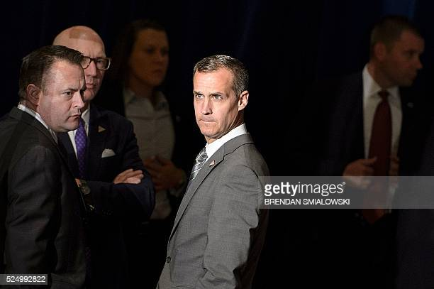 Trump campaign manager Corey Lewandowski waits for Republican US presidential hopeful Donald Trump to speak about foreign policy at the Mayflower...