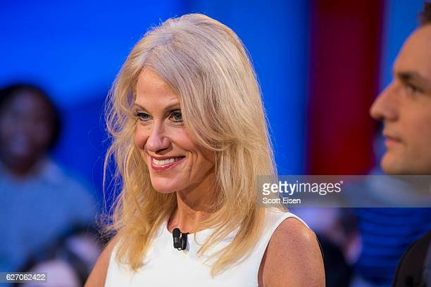 Trump Campaign Manager Kellyanne Conway speaks during the event titled 'War Stories Inside Campaign 2016' at the Harvard Institute of Politics Forum...