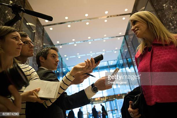 Trump campaign manager Kellyanne Conway talks to reporters at Trump Tower November 17 2016 in New York City Presidentelect Donald Trump and his...