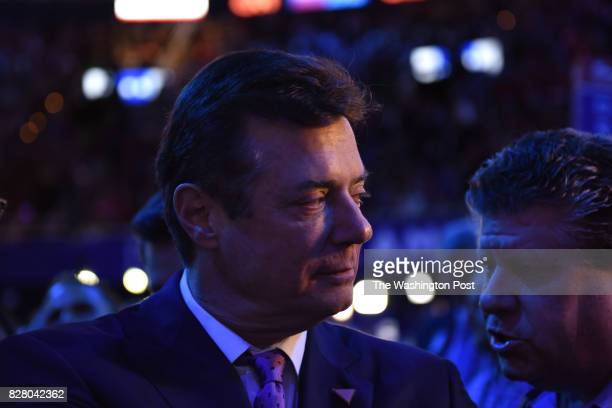 Trump campaign manager Paul Manafort walks the floor at the Republican National Convention in Cleveland on July 21 2016