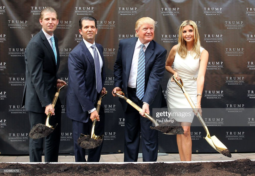 Trump family members (L to R) <a gi-track='captionPersonalityLinkClicked' href=/galleries/search?phrase=Eric+Trump&family=editorial&specificpeople=1283906 ng-click='$event.stopPropagation()'>Eric Trump</a>, <a gi-track='captionPersonalityLinkClicked' href=/galleries/search?phrase=Donald+Trump+-+Born+1946&family=editorial&specificpeople=118600 ng-click='$event.stopPropagation()'>Donald Trump</a> Jr., <a gi-track='captionPersonalityLinkClicked' href=/galleries/search?phrase=Donald+Trump+-+Born+1946&family=editorial&specificpeople=118600 ng-click='$event.stopPropagation()'>Donald Trump</a> and <a gi-track='captionPersonalityLinkClicked' href=/galleries/search?phrase=Ivanka+Trump&family=editorial&specificpeople=159375 ng-click='$event.stopPropagation()'>Ivanka Trump</a> break ground at the Trump International Hotel Washington, D.C Groundbreaking Ceremony at Old Post Office on July 23, 2014 in Washington, DC.