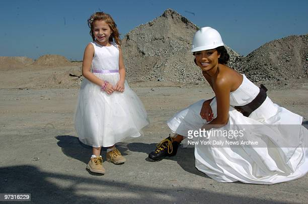 Trump On The Ocean with Miss USA Rachel Smith and little Ashley Carl during the ground bracking of the Trump on the Ocean Wedding Hall and entertain...