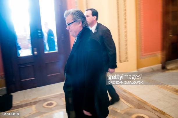 Trump strategist Steve Bannon arrives for a meeting with House Republicans on Capitol Hill March 23 2017 in Washington District of Columbia US...