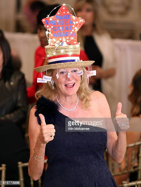 Trump supporter Rosemarie Harder attends a primary night event at Republican presidential candidate Donald Trumps Donald J Trump Ballroom at the...