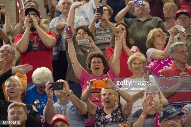 Trump supporters attend a rally on April 29 2017 in Harrisburg Pennsylvania President Trump celebrated his first 100 days in office by holding a...
