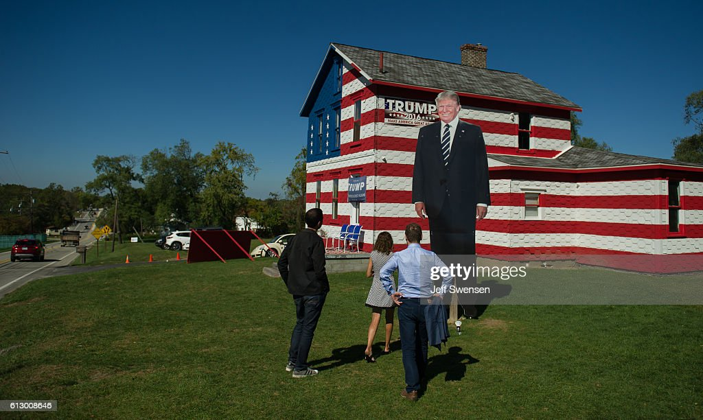 Trump supporters gather at the 'Trump House' in Youngstown Pennsylvania on October 6 2016 Youngstown Pennsylvania in Westmoreland County is a former...