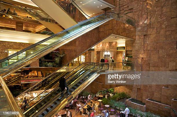 Trump Tower, interior, showing escalators and cafe, New York, NY