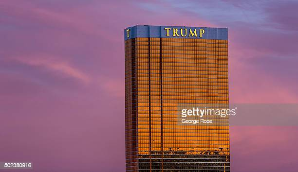 Trump Tower is viewed at sunrise on December 8 2015 in Las Vegas Nevada Tourism in America's 'Sin City' has within the past two years made a...