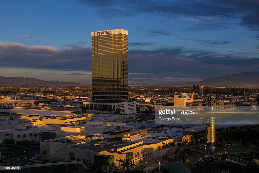 Trump Tower located along The Strip is viewed from the Palazzo Hotel Casino on December 14 2013 in Las Vegas Nevada Tourism in America's 'Sin City'...