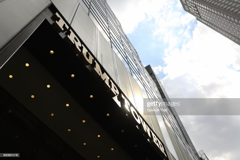 Trump Tower stands in lower Manhattan after it re-opened following the departure of US President Donald Trump on August 16, 2017 in New York City. President Trump arrived at his residency at the tower on Monday evening, his first trip back to Trump Tower since the inauguration.