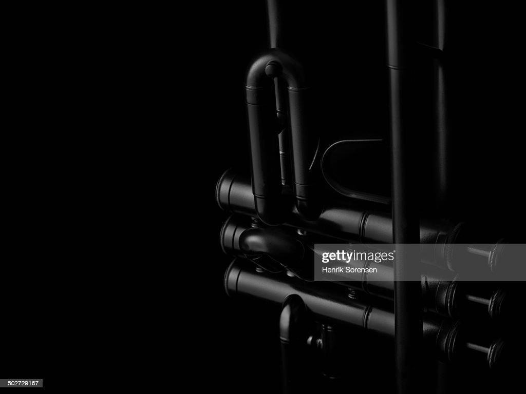 Trumpet on black backdrop
