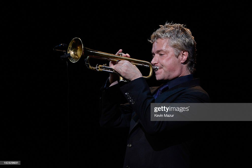 Trumpet player Chris Botti performs 'What I Did for Love' from A Chorus Line on stage at the memorial of Marvin Hamlisch at Peter Jay Sharp Theater on September 18, 2012 in New York City.