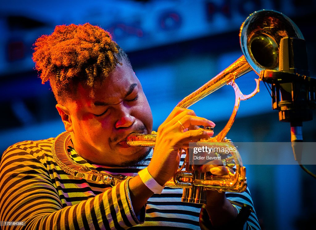 Trumpet player Christian Scott performs on Nice Jazz Festival stage on July 8, 2013 in Nice, France.