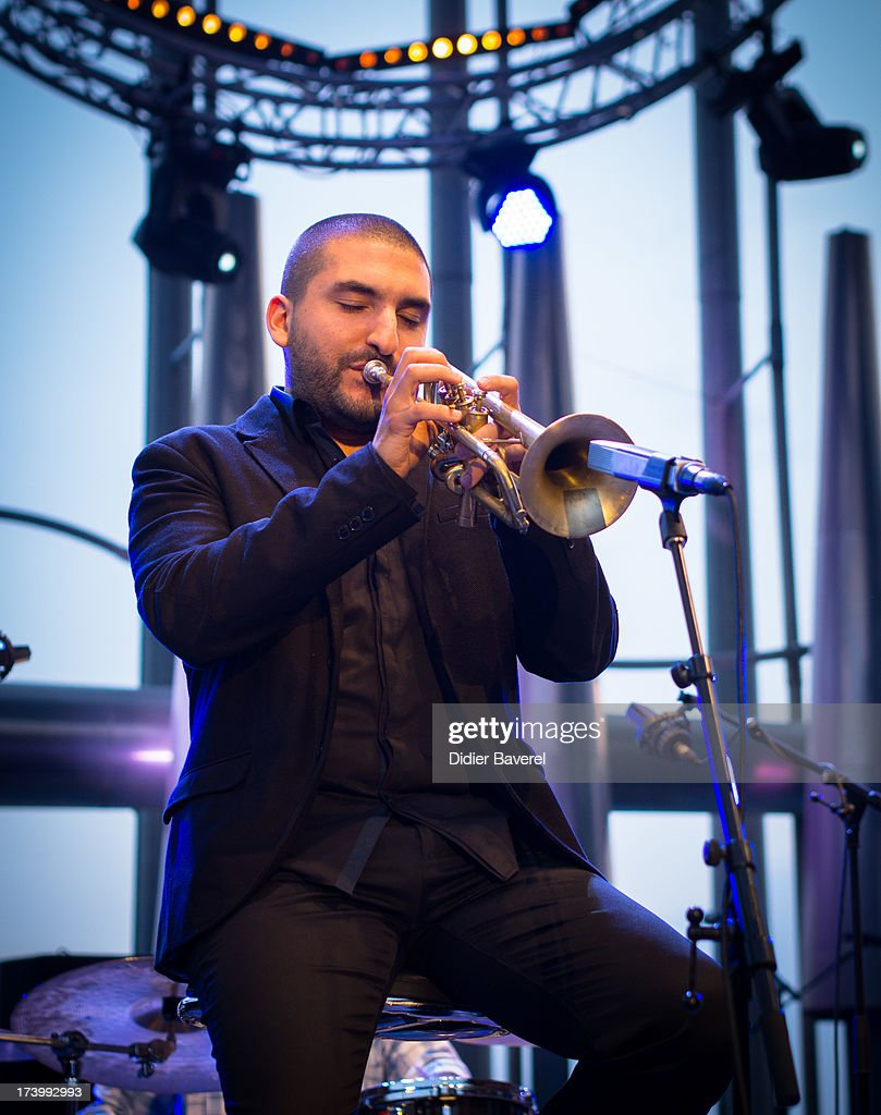 Trumpet player Ibrahim Maalouf performs on stage at Juan-Les-Pins Jazz Festival on July 18, 2013 in Juan-les-Pins, France.