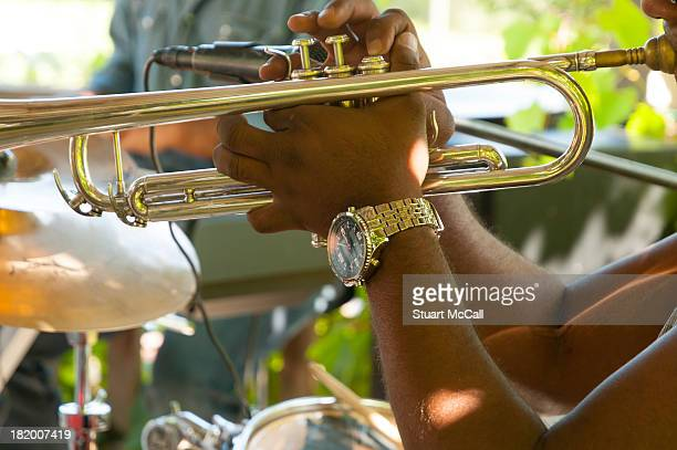 Trumpet player in jazz band