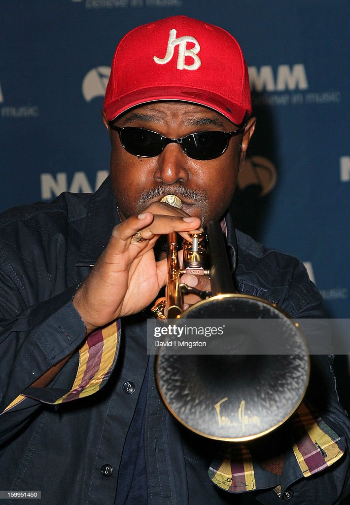 Trumpet player Jon Barnes performs on stage at the 2013 NAMM Show - Media Preview Day at the Anaheim Convention Center on January 23, 2013 in Anaheim, California.