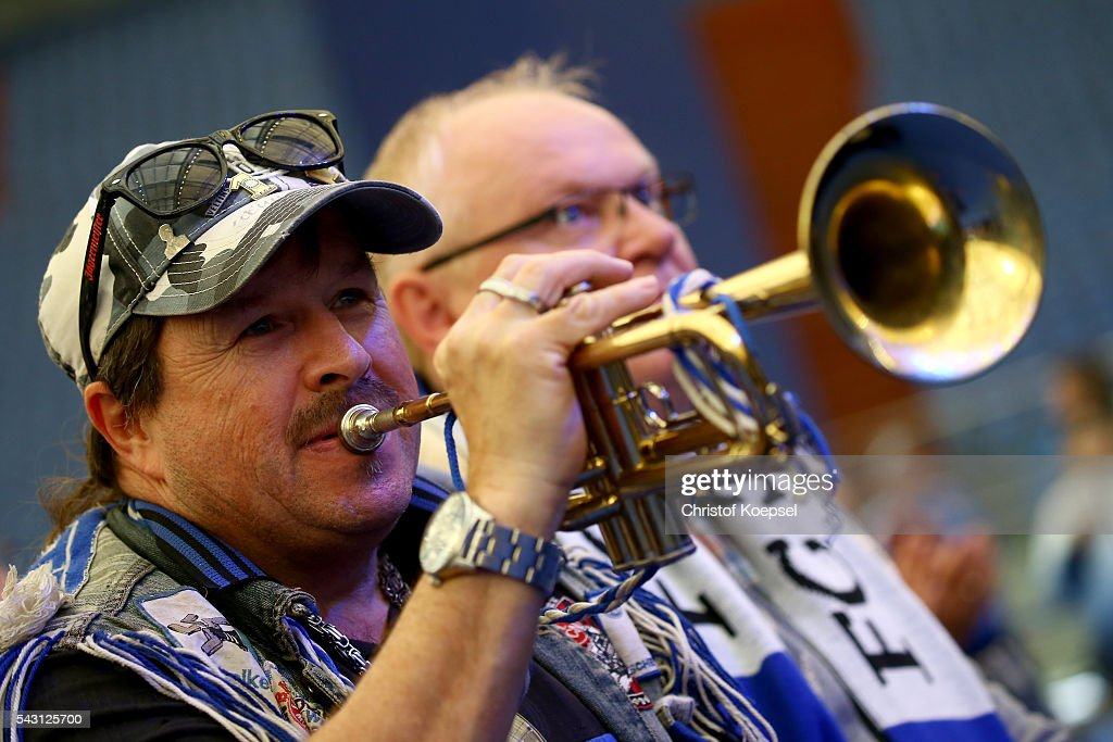 Trumpet player Willy blows the trumpet during the FC Schalke 04 general assembly at Veltins Arena on June 26, 2016 in Gelsenkirchen, Germany.