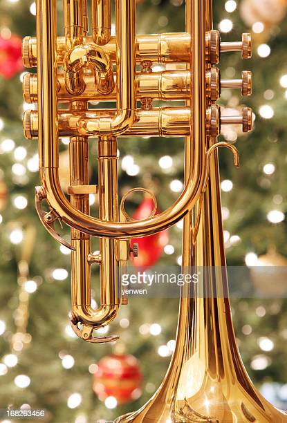 Trumpet with Christmas Background